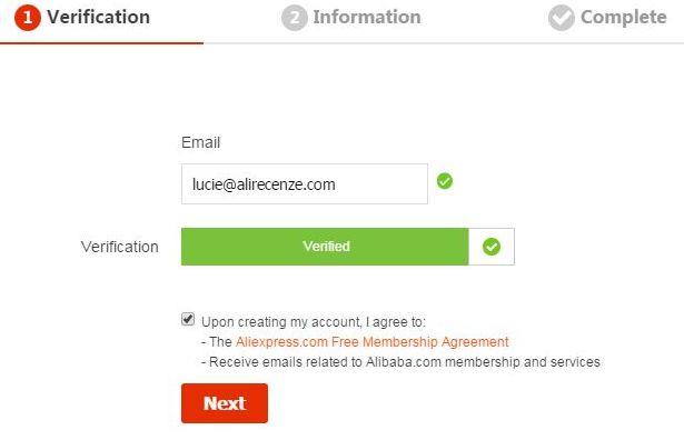 Aliexpress registrace 5