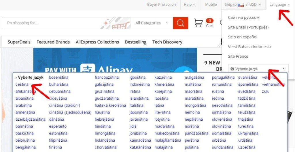 Jak zmenit jazyk na Aliexpress