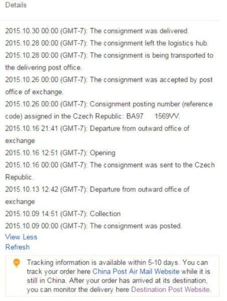 Sledovani zasilek na Aliexpress Logistics infromation 3