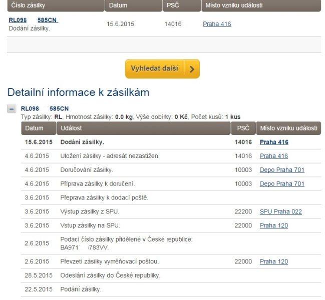 Sledovani zasilek na Aliexpress Logistics infromation 4