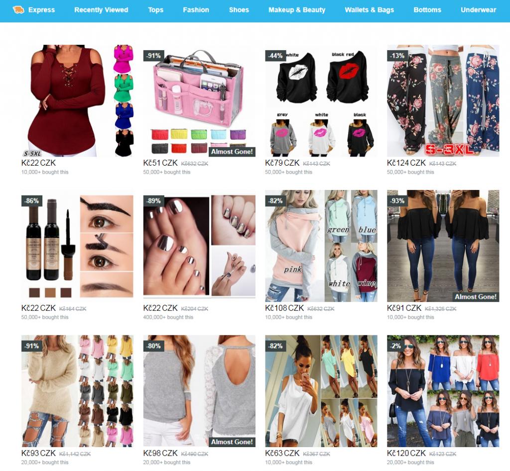 Wish nakupovani shopping
