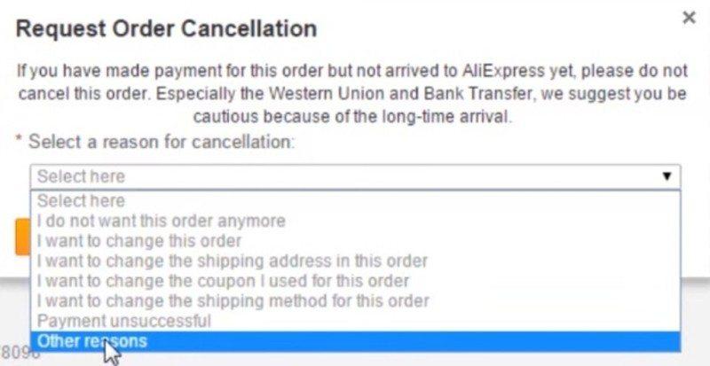 Jak zrusit objednavku na Aliexpress 2