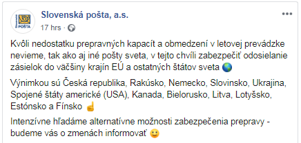 Slovenska posta koronavirus COVID 19 dorucovanie zasielok