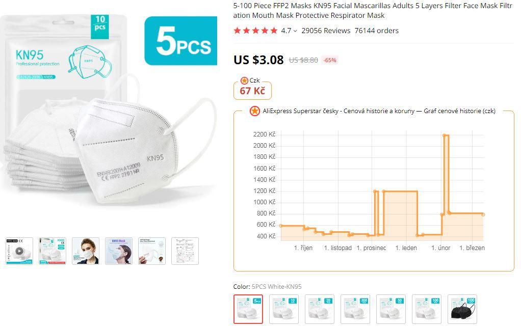 Respiratory FFP2 Aliexpress super cena rousky 5ks