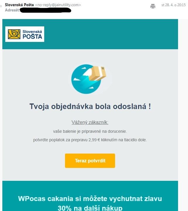 Podvodne emaily od Ceske Slovenske posty priklad 2